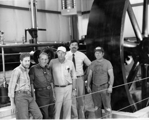 The Corliss Engine Gang: (left to right) Steve Lang, Ken Smith, James Rockefeller, Charles and Bill Smith.